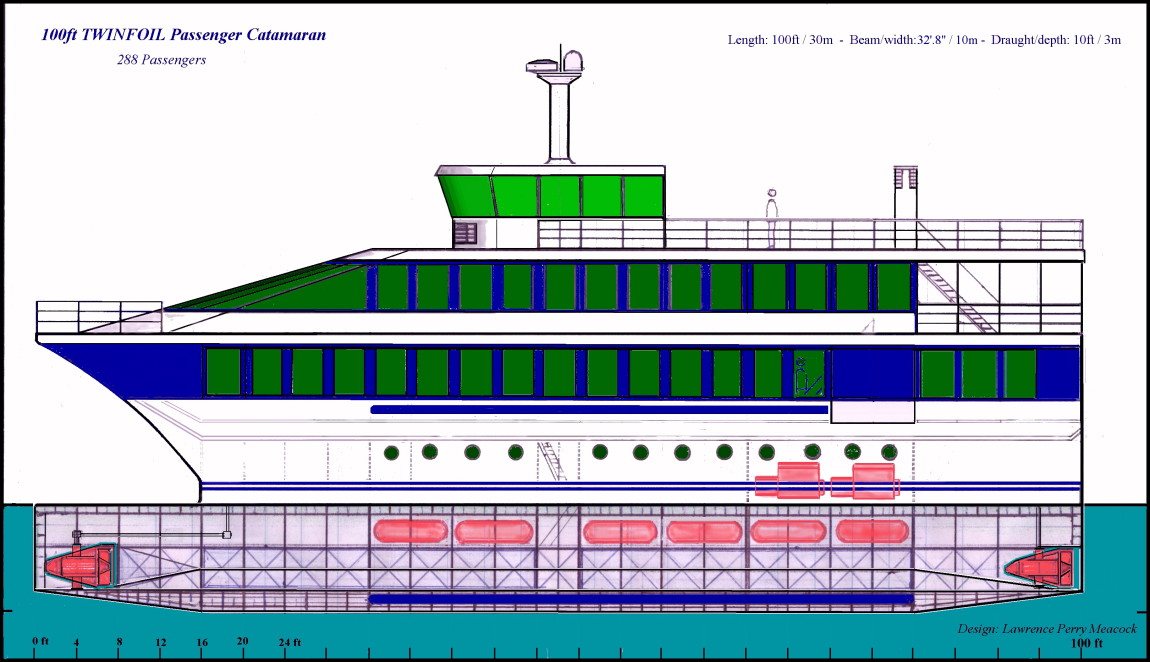 100ft Passenger Catamaran 2888 passengers configurable