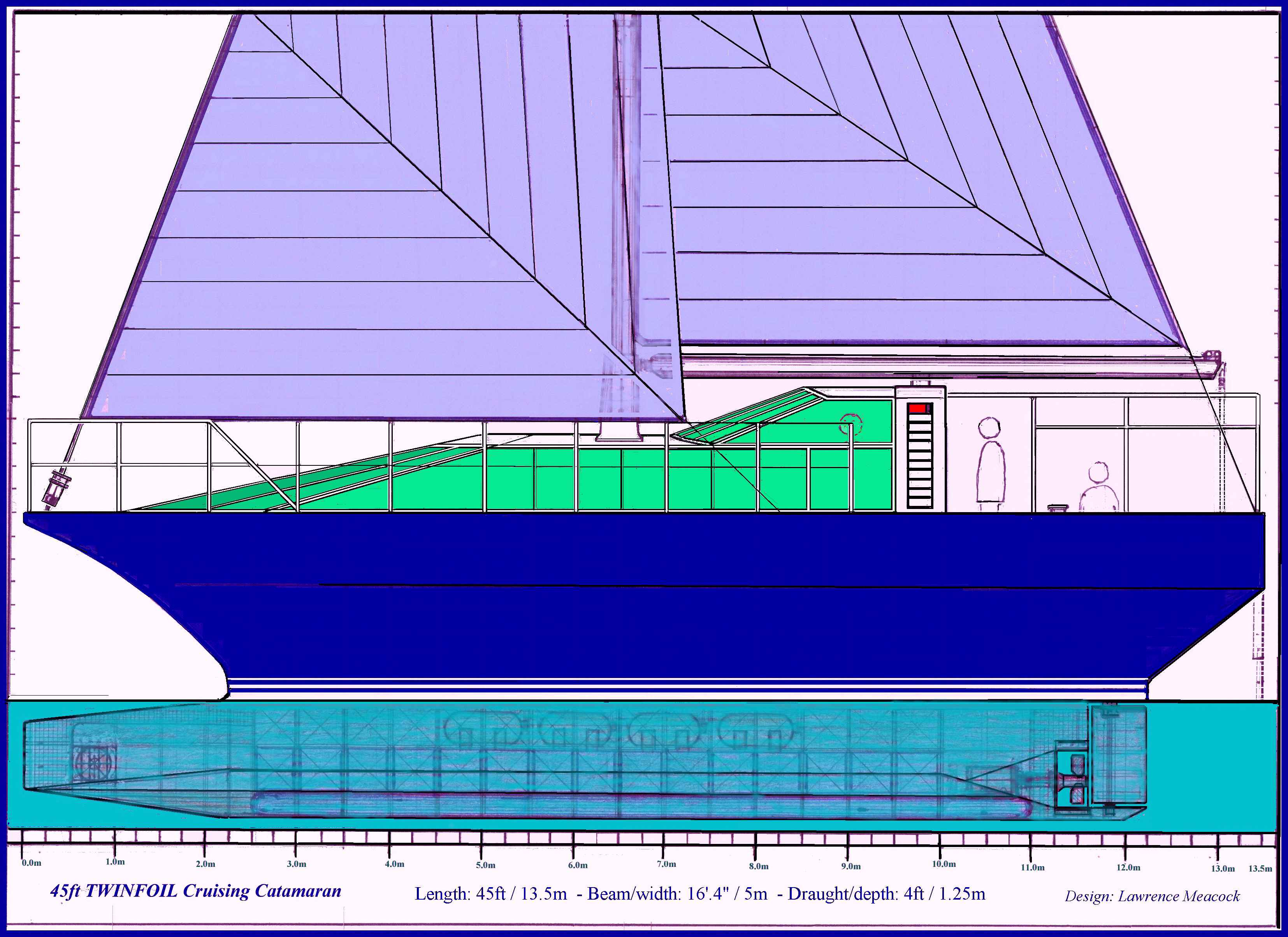 45ft TWINFOIL Cruising Catamaran side view