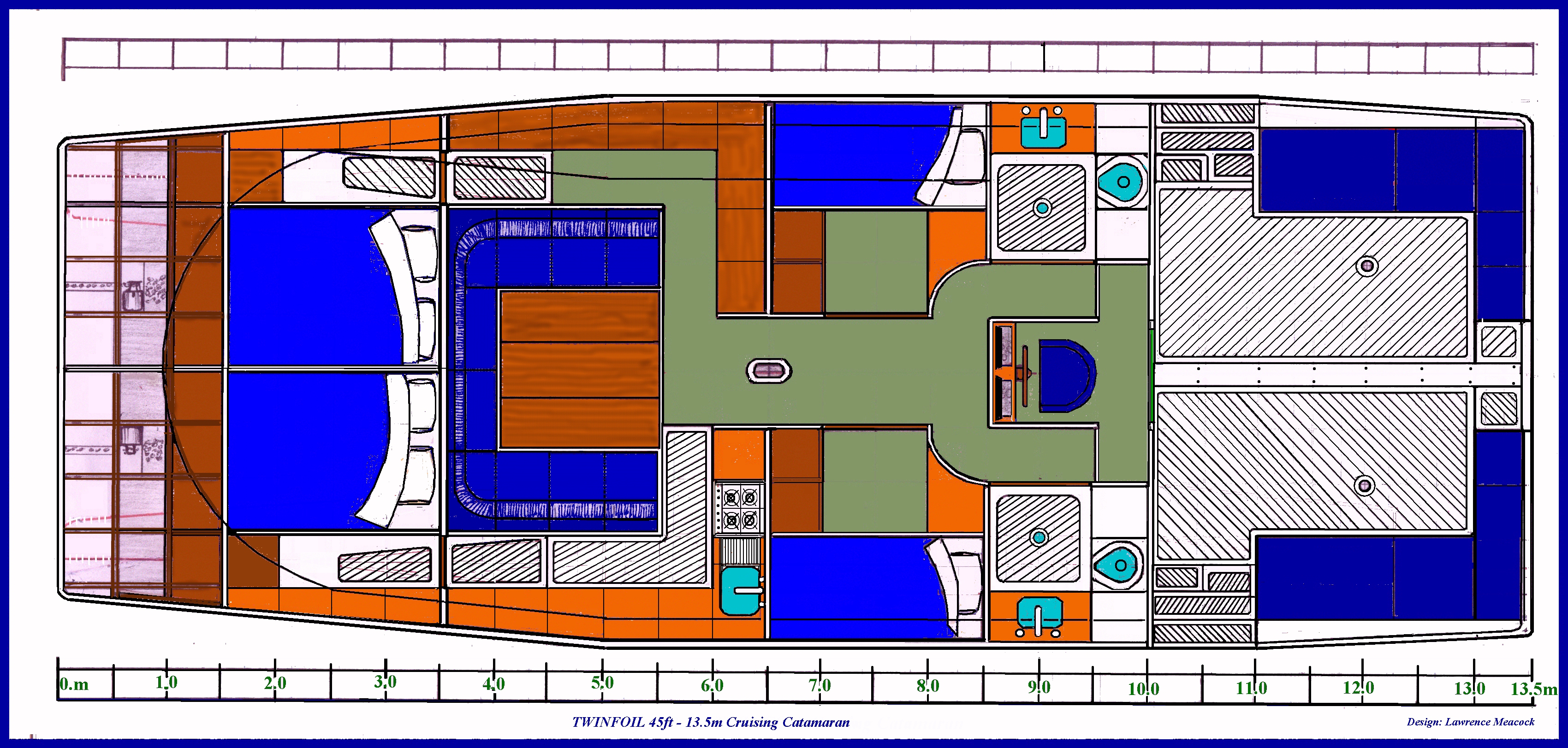 45ft TWINFOIL Cruising Catamaran interior